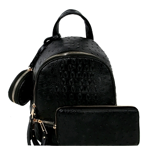 LHU315O-1W Ostrich Print Front Pocket Fashion Convertible Small Backpack Wallet SET Black