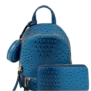 LHU315O-1W Ostrich Print Front Pocket Fashion Convertible Small Backpack Wallet SET Blue
