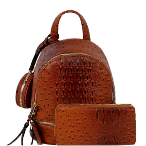 LHU315O-1W Ostrich Print Front Pocket Fashion Convertible Small Backpack Wallet SET Cognac