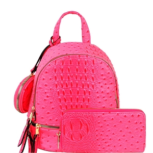LHU315O-1W Ostrich Print Front Pocket Fashion Convertible Small Backpack Wallet SET Neon-Fuchsia