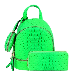 LHU315O-1W Ostrich Print Front Pocket Fashion Convertible Small Backpack Wallet SET Neon-Green