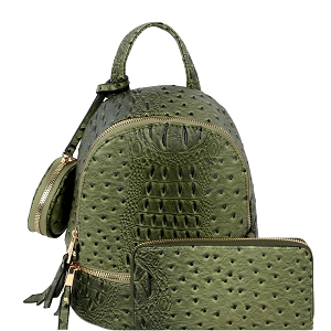 LHU315O-1W Ostrich Print Front Pocket Fashion Convertible Small Backpack Wallet SET Olive