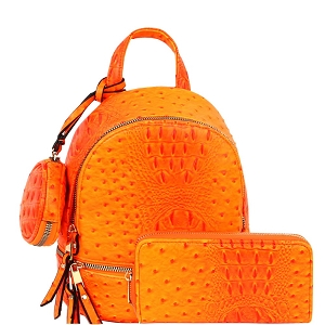 LHU315O-1W Ostrich Print Front Pocket Fashion Convertible Small Backpack Wallet SET Neon-Orange