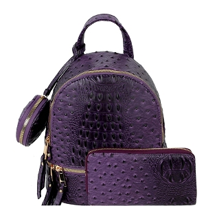 LHU315O-1W Ostrich Print Front Pocket Fashion Convertible Small Backpack Wallet SET Purple