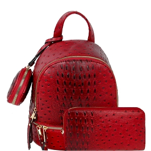 LHU315O-1W Ostrich Print Front Pocket Fashion Convertible Small Backpack Wallet SET Red