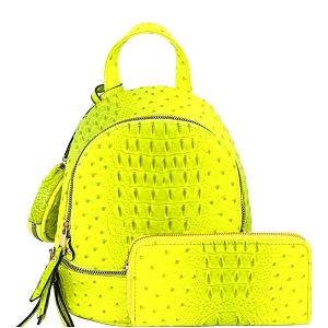 LHU315O-1W Ostrich Print Front Pocket Fashion Convertible Small Backpack Wallet SET Neon-Yellow