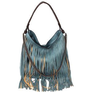 LHU357 Chain Accent Classy Boho Fringed 2-Way Hobo Blue
