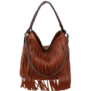 LHU357 Chain Accent Classy Boho Fringed 2-Way Hobo Brown