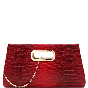LLY010C Crocodile Print Cut-out Handle Large Clutch Satchel Red