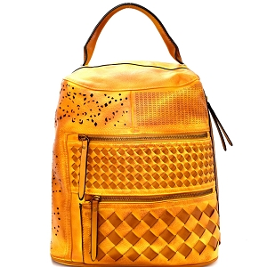 LMS055 Laser-Cut Detail Woven Rustic Fashion Backpack Yellow