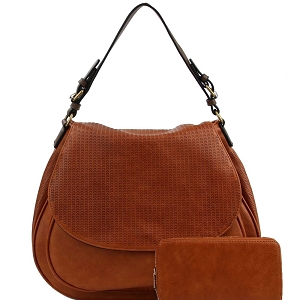 LMS0761W CHILLX Perforated Flap Satchel Wallet SET Brown