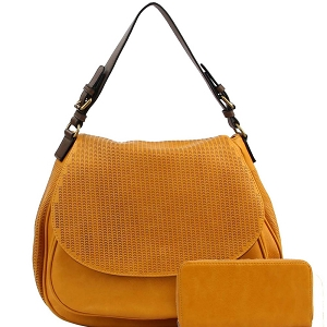 LMS0761W CHILLX Perforated Flap Satchel Wallet SET Yellow