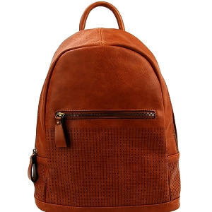 LMS077 CHILLX Perforated Two-Tone Fashion Backpack Brown