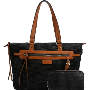 LMS0801W Knitted Straw Two-Tone Tote Wallet SET Black