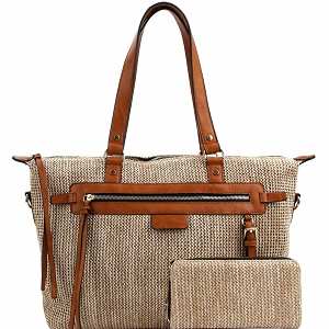 LMS0801W Knitted Straw Two-Tone Tote Wallet SET Taupe
