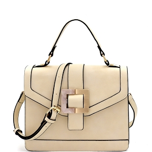 LMS133 Resin Metal Buckle Accent 2-Way Flap Satchel Off-White