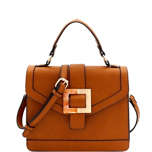 LMS133 Resin Metal Buckle Accent 2-Way Flap Satchel Brown
