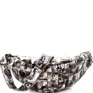 LOV001 Magazine Print Patent Fashion Fanny Pack Black