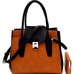 LP0661W Two-Tone Structured Convertible Wing Satchel Wallet SET Brown