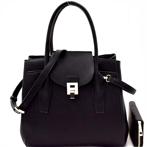 LP0661W Two-Tone Structured Convertible Wing Satchel Wallet SET Black