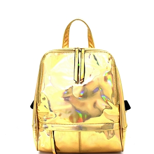 LQ091 Iridescent Metallic Fashion Backpack Gold