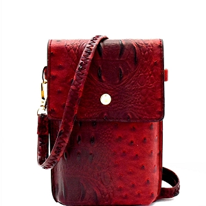 LQ124 Ostrich Print Embossed Cellphone Holder Cross Body Red