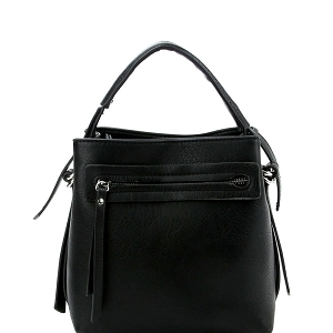 LQ133 Front Zipper Pocket 2-Way Medium Satchel Black