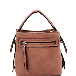 LQ133 Front Zipper Pocket 2-Way Medium Satchel Blush