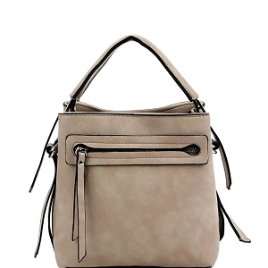 LQ133 Front Zipper Pocket 2-Way Medium Satchel Light-Stone