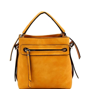LQ133 Front Zipper Pocket 2-Way Medium Satchel Mustard