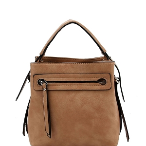 LQ133 Front Zipper Pocket 2-Way Medium Satchel Stone