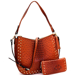 LQ138-1W Tassel Accent Studded Ostrich Print 2-Way Hobo Wallet SET Brown