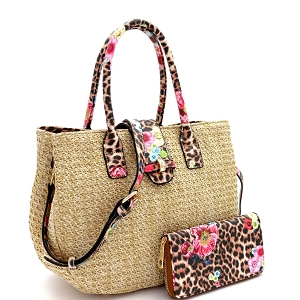 LQ161-1W Flower Leopard Print Accent Straw 2-Way Satchel Wallet SET Taupe
