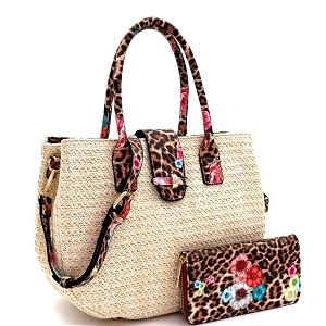 LQ161-1W Flower Leopard Print Accent Straw 2-Way Satchel Wallet SET Off-White