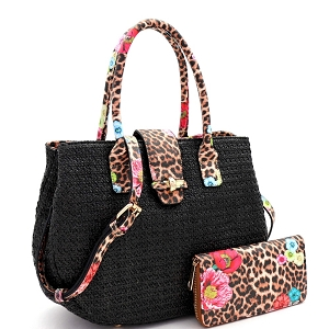 LQ161-1W Flower Leopard Print Accent Straw 2-Way Satchel Wallet SET Black