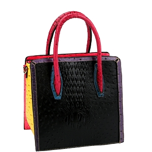 LQ179 Color Block Ostrich Crocodile Print Tall Satchel Black