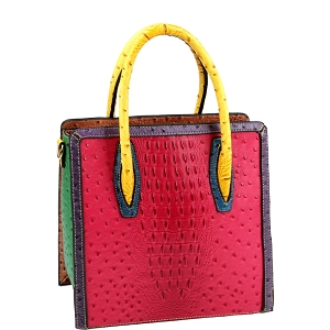 LQ179 Color Block Ostrich Crocodile Print Tall Satchel Fuchsia