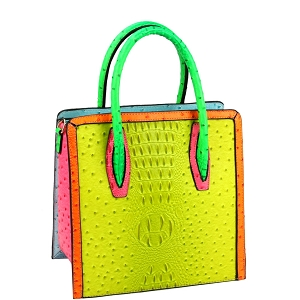 LQ179 Color Block Ostrich Crocodile Print Tall Satchel Neon