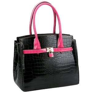 LQ187 Color Block Crocodile Print Padlock Satchel Black