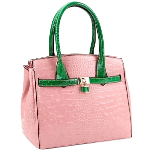LQ187 Color Block Crocodile Print Padlock Satchel Blush