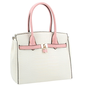 LQ187 Color Block Crocodile Print Padlock Satchel White