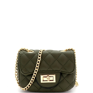 LQ195 Quilted Turn-Lock 2-Way Mini Cross Body Shoulder Bag Olive