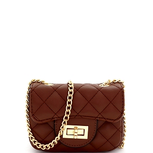 LQ195 Quilted Turn-Lock 2-Way Mini Cross Body Shoulder Bag Brown