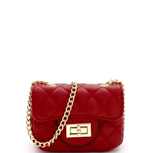 LQ195 Quilted Turn-Lock 2-Way Mini Cross Body Shoulder Bag Red