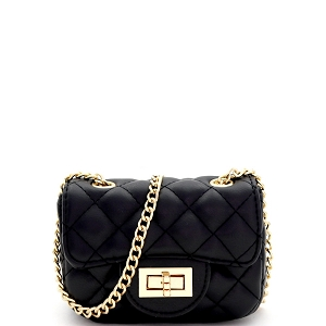 LQ195 Quilted Turn-Lock 2-Way Mini Cross Body Shoulder Bag Black