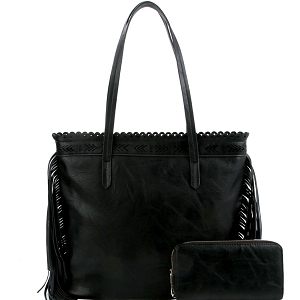 LQF0121W Tribal Aztec Laser-Cut Fringed Side Shopper Tote Wallet SET Black