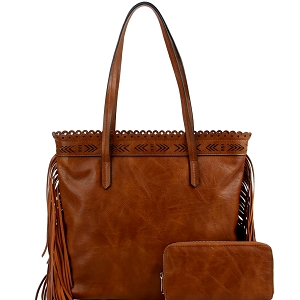 LQF0121W Tribal Aztec Laser-Cut Fringed Side Shopper Tote Wallet SET Brown