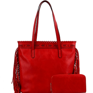 LQF0121W Tribal Aztec Laser-Cut Fringed Side Shopper Tote Wallet SET Red