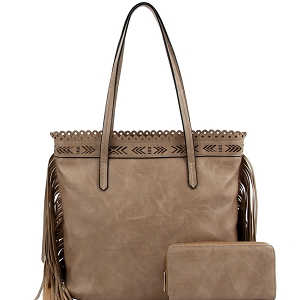 LQF0121W Tribal Aztec Laser-Cut Fringed Side Shopper Tote Wallet SET Stone