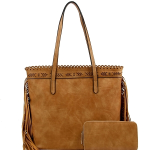 LQF0121W Tribal Aztec Laser-Cut Fringed Side Shopper Tote Wallet SET Tan